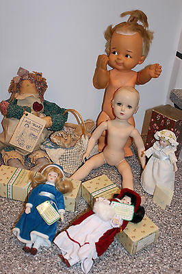 6 Pc Vintage Mixed Lot Dolls Bam Bam 2 Avon 1 Antique For Repair 1 Attic Babies
