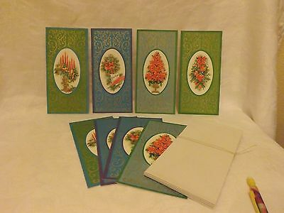 Older Christmas Cards*8*USA*Gold Scrollwork & Accents*Unused*4 Designs*