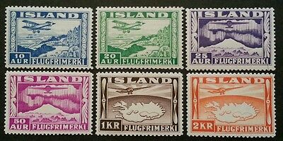 ICELAND Complete Set Air-Mail 1934 MH HR