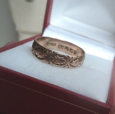 Victorian 9ct Rose Gold Patterned Wedding Band Ring 1898 Birmingham  size P / Q