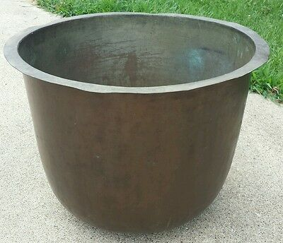 Antique Cauldron Copper Apple Butter Handcrafted Kettle Pot 125 + yrs.old  Large