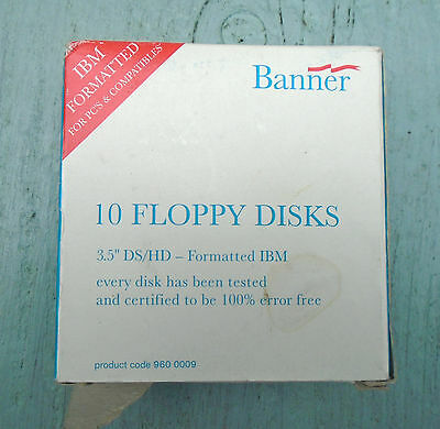 """Vintage Banner 10 Floppy Disks Boxed 3.5"""", opened but never used"""