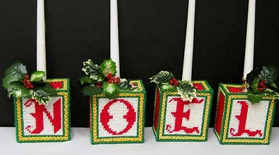 "4 Vntg. Plastic Canvas Candle Holders with Holly Spell Noel 5"" x 4 1/2"" Each"