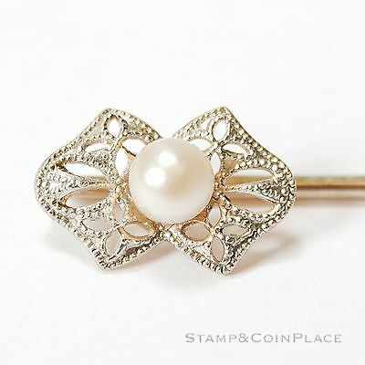 Vintage 14K White Gold and Pearl Stick Pin #56897