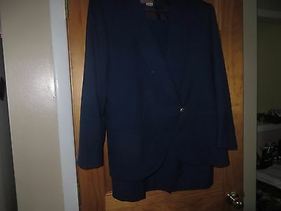 Vintage SAVILLE Woman's Mad Men Era Blue Wool Suit Size 12