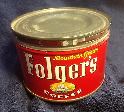 Empty Vintage Folger's Tin Coffee Can with Lid