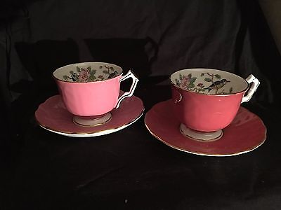 Estate Find RARE Aynsley Mauve and Pink Floral Birds Tea Cup & Saucer GORGEOUS