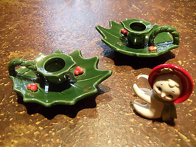 Vtg Lefton Mrs Snowman Candle Hugger & 2 Christmas Holly Berry Candle Holders