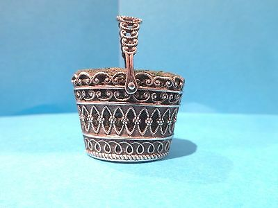 Victorian silver pin cushion basket fine scrolled decoration