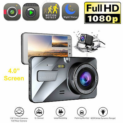 "Car Camera Recorder Dash Cam DVR Dual Lens Video FULL HD 1080P 4.0"" LCD"