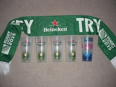 Very Rare 2015 Rugby World Cup Heineken Complete Cups Collection With Scarf