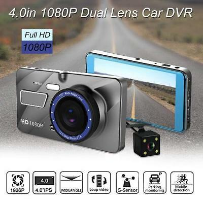 "4.0"" IPS Display 12MP Dual Lense Camera Car DVR Video Recorder Security Cam HD"