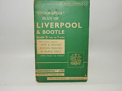 Vintage 'geographia' Plan Of Liverpool & Bootle 5.5 Inch To I Mile On Paper