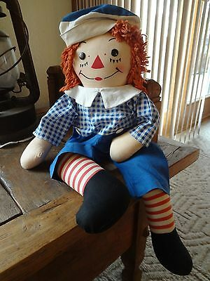 "**Vintage 19""  Raggedy Ann 's Andy Georgene 1947 TAG Excellent"