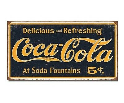 Coca Cola 1910 Look Coke Logo Metal Tin Sign Weathered Vintage  Bar Man Cave New