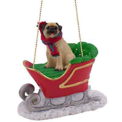 Fawn Chinese Pug Dog in Sleigh Christmas Ornament New