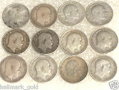 1902 to 1926 George & Edward VII  three pence coins