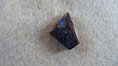 17.3 ct solid boulder opalized wood - bright blue green fire