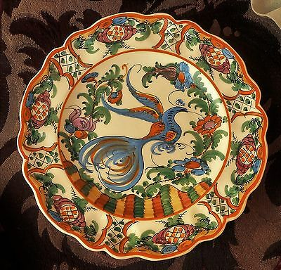 Vintage Hand Painted Decorative Plate, Possibly From Greece, / Large Bluebird