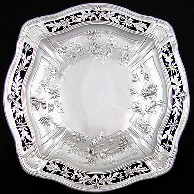 Antique French Sterling Silver Floral Repousse Pierced Centerpiece Tazza / Tray