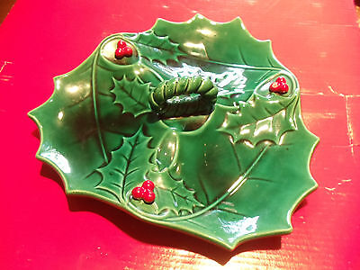 ~Rare~ Vintage Lefton Green Holly Berry Divided Handled Candy Relish Dish 876