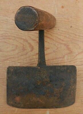 Antique 19th C Hand Forged Wrought Iron Wood Handle Food Chopper -Better Quality