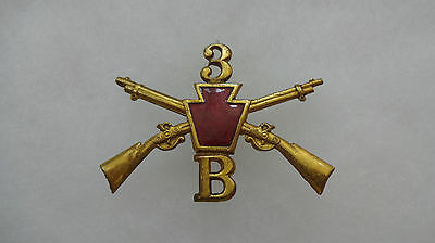 Pennsylvania National Guard Infantry Hat Badge, 1st Brigade, 3rd Regt, Co B