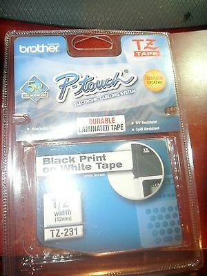 """Genuine Brother Tz-231 P-Touch Tape 1/2"""" Width- Black Print On White-Brand New"""