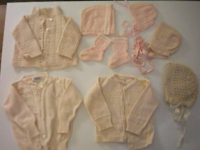 Lot 8 Pieces Vintage 1950's Pink Baby Knit Sweaters, Hats, Booties