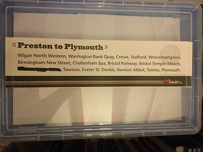 Virgin Trains Preston to Plymouth  used rail carriage window label