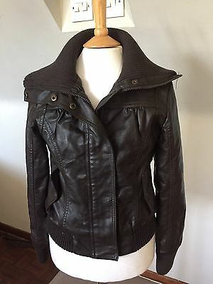 BENCH GIRLS BROWN FAUX LEATHER BOMBER JACKET aged 8-9 Years