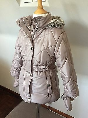 JUNIOR J GIRLS BEIGE SATIN COAT JACKET Aged 3-4 years