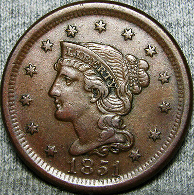1851 Braided Hair Large Cent -- STUNNING TYPE COIN -- #M893