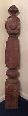 Estate Antique Architectural Salvage Carved Wood Newel Post