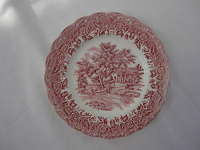 W.H Grindley Staffordshire England Country Style Pink White Tea Plate
