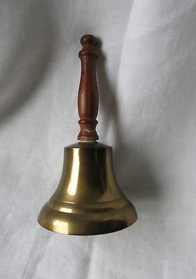 Vintage School Teacher's Dinner Hand Held wood Brass Bell