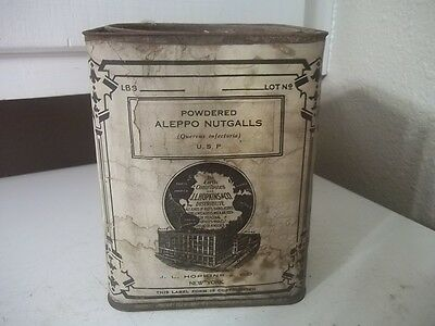 Vintage Pharmaceutical CANISTER w/ Contents HOPKINS NY POWDERED ALEPPO NUGGETS