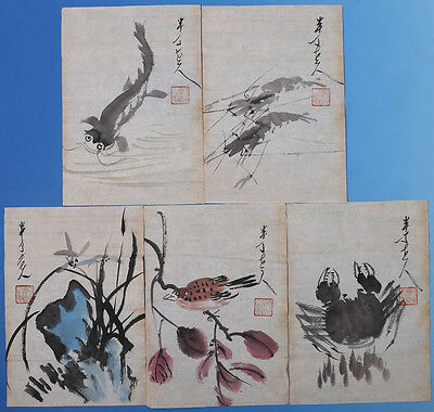 5PCS Rare Old Chinese Paper Hand Painting Signed ChenBanDing WJ764