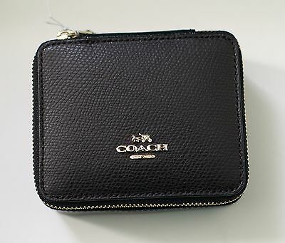 NEW COACH Leather Jewelry Cosmetic Case Box Black  F66502 $100