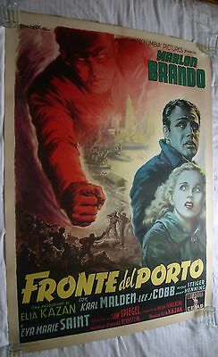 On The Waterfront, Original 1954 Italian Linen Movie Film Poster, Marlon Brando