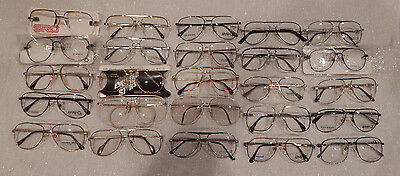 25 pc.Assorted Double Bridge Men's Metal Eyeglass Frame Lot New Old Stock Lot #8