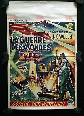 The War of the Worlds, Original 1953 Belgian Film Movie Poster, HG Wells