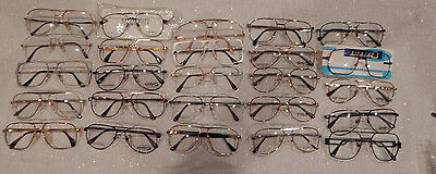 25 pc.Assorted Double Bridge Men's Metal Eyeglass Frame Lot New Old Stock Lot #9