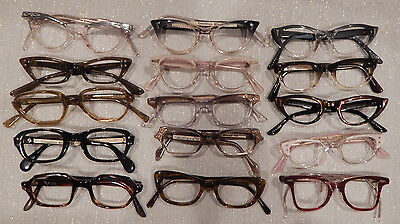 Vintage 15 pc PETITE Plastic Eyeglass Frame Lot New Old Stock
