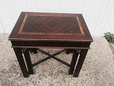 Vintage LANE End Tables Nesting CHIPPENDALE INLAID Mahogany End Table