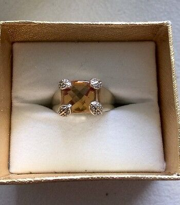9k  Gold 3.5 Ct Square citrine  With Diamonds   Ring Size Q