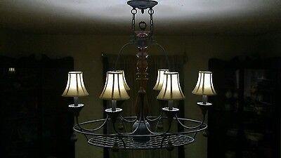 vintage old country metal/wood light fixture