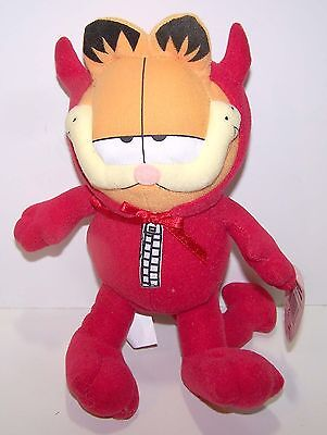 "Vintage Garfield Halloween Devil 9"" Plush Doll Russell Stover - Tags"