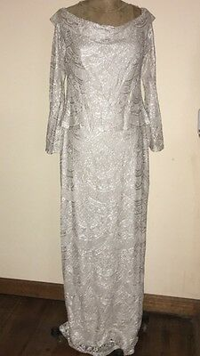 David's Bridal Full Length Mother Of The Bride Metallic Lace Gown Size 12
