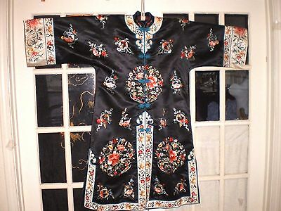 Gorgeous Old Chinese Black Silk Embroidered Long Jacket w/Floral & Orb Design
